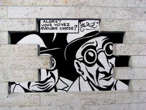 """Angoulême 2008 - Illustration murale de Marc-Antoine Mathieu, """"Réalité, sortie de secours"""", réalisée en 2003 pour le festival - Crédits Phil Hatchard - La Déviation"""
