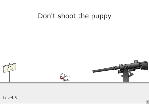 Capture d'écran d'une partie de Don't shoot the puppy, jouable là-bas.
