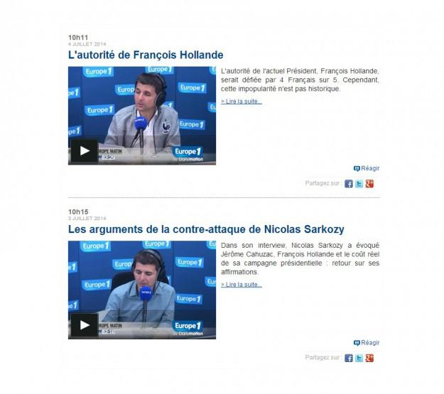 """Deux articles du """"vrai / faux"""" de l'info d'Europe 1."""
