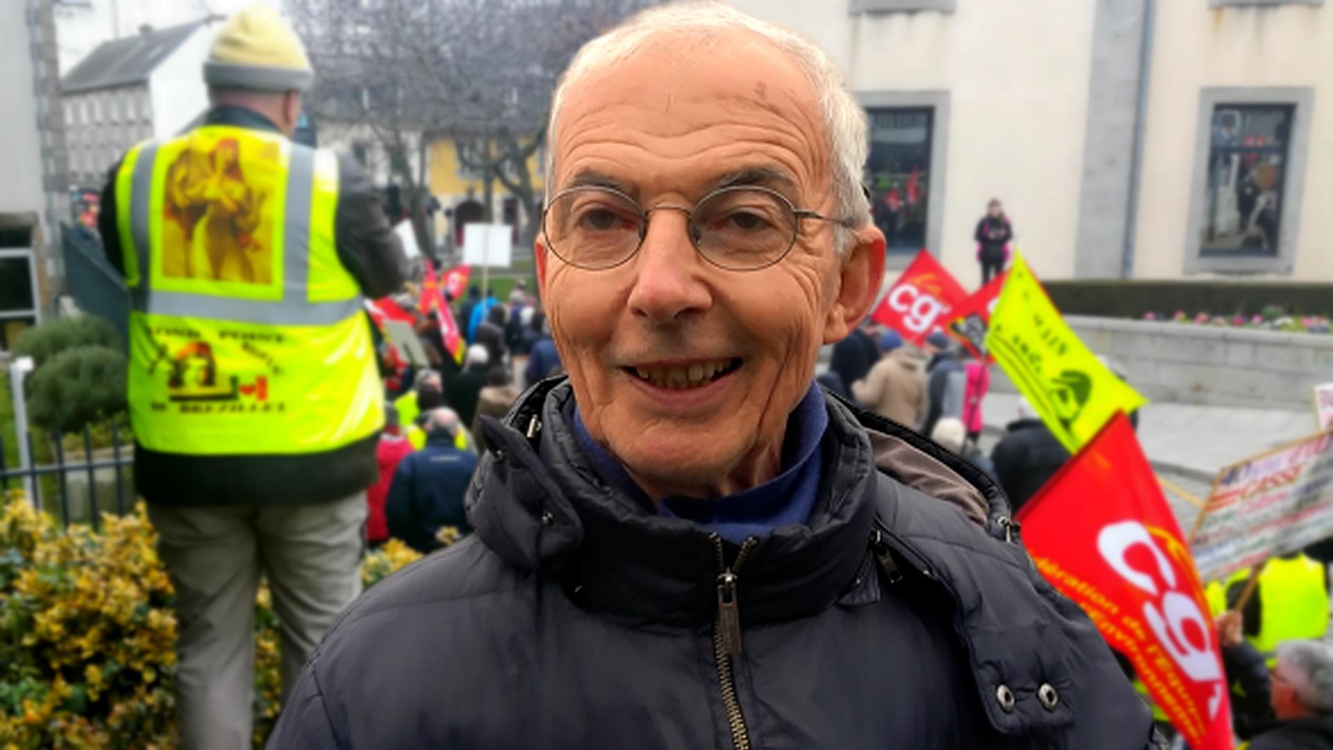 Interview de Serge Le Quéau de Solidaires lors de la manifestation du 24 janvier 2020 contre la réforme de retraites à points à Saint-Brieuc