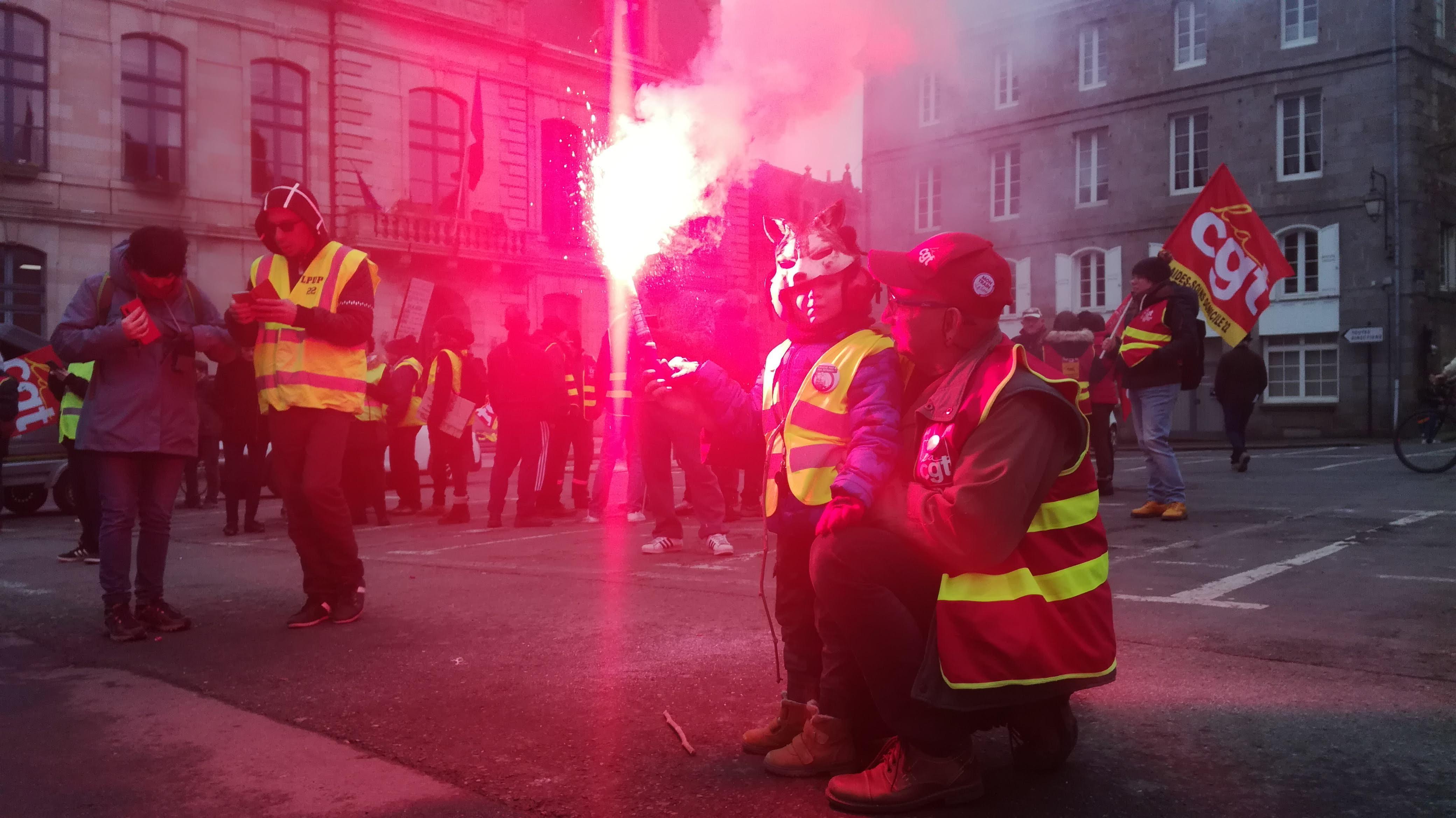 200124 - Manifestation intersyndicale contre réforme des retraites à Saint-Brieuc le 24 janvier 2020