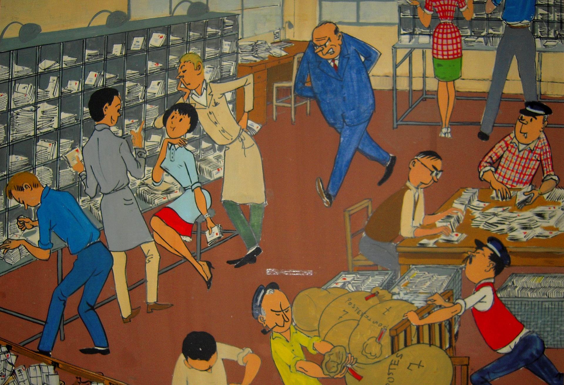 200329 - Les Postiers dessin humoristique situé à la poste du Louvre by Marcel Collin photographié par Patrick Janicek CC BY 2.0 - La Déviation