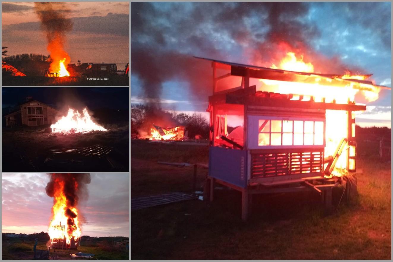 200411 - Zad de la Dune expulsée et brûlée à Bretignolles-sur-mer en Vendée le 8 avril 2020 - La Déviation