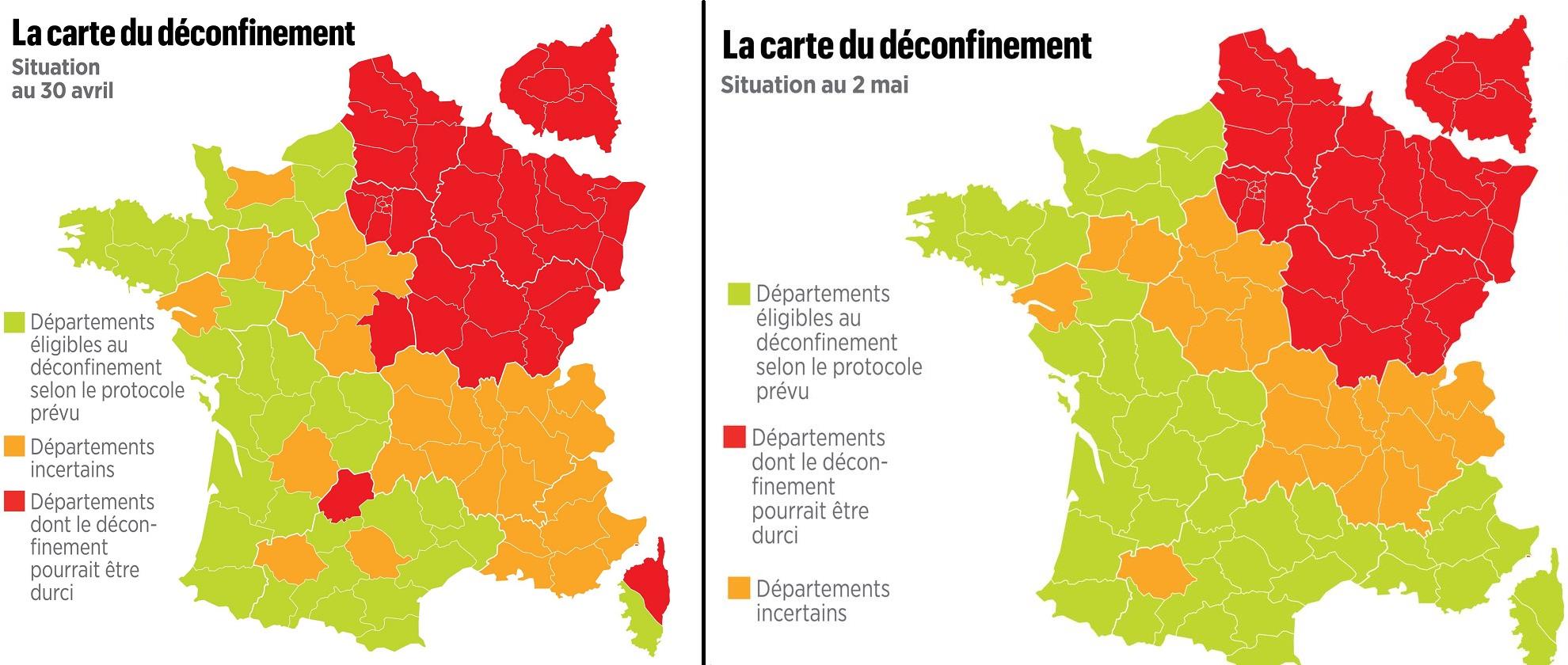 200502 - Cartes du déconfinement des 30 avril et 2 mai by Gouvernement - La Déviation