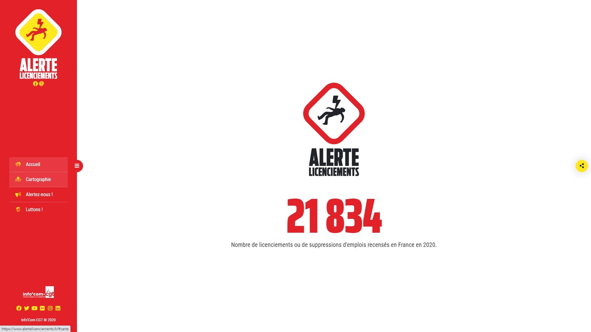 200605 - Carte Alerte licenciements by CGT Info'com accueil - La Déviation